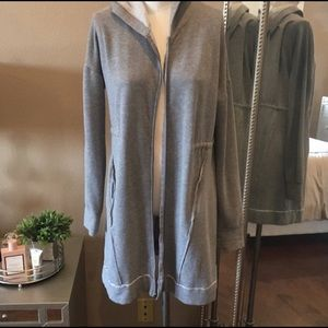 H by Bordeaux gray long hoodie jacket small